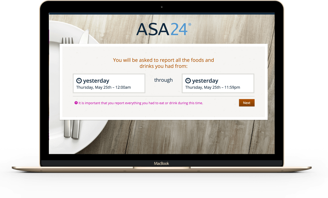 ASA24 home page on a desktop