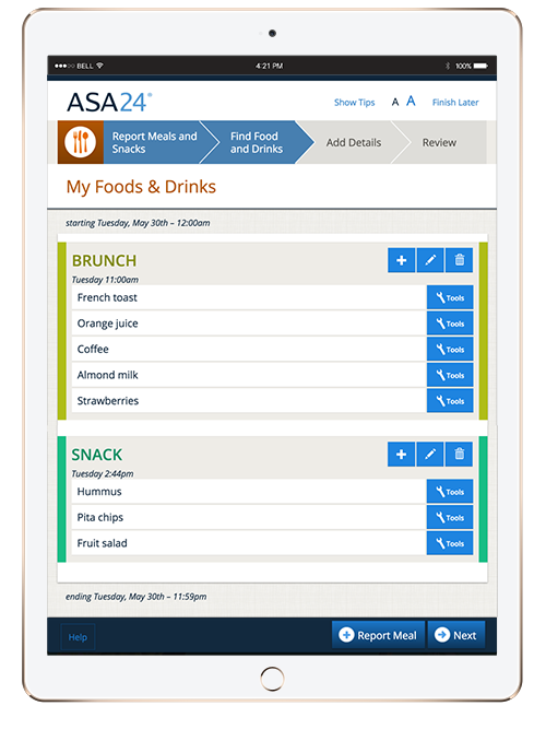ASA24 My Food & Drinks dashboard on iPad