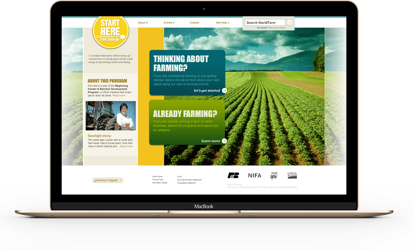 Start2farm home page on a desktop