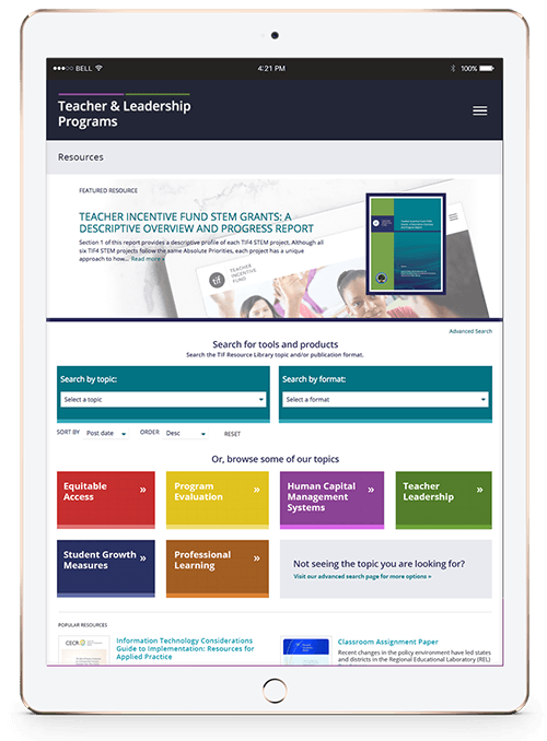 Teacher and Leadership Programs Resources landing page on iPad